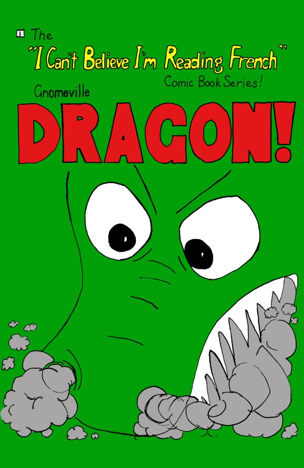 "Gnomeville comic book cover containing head of dragon with smoke billowing out of its mouth and the title ""DRAGON!"" in large red letters"