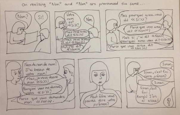 """comic about an exchange where """"nom"""" and """"non"""" are confused"""